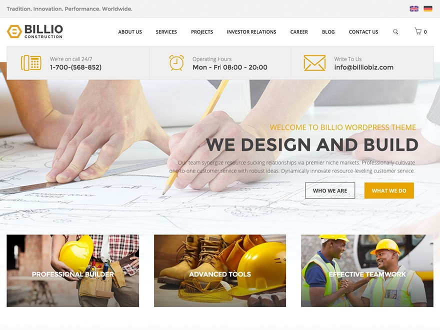 Billio child theme best WordPress template