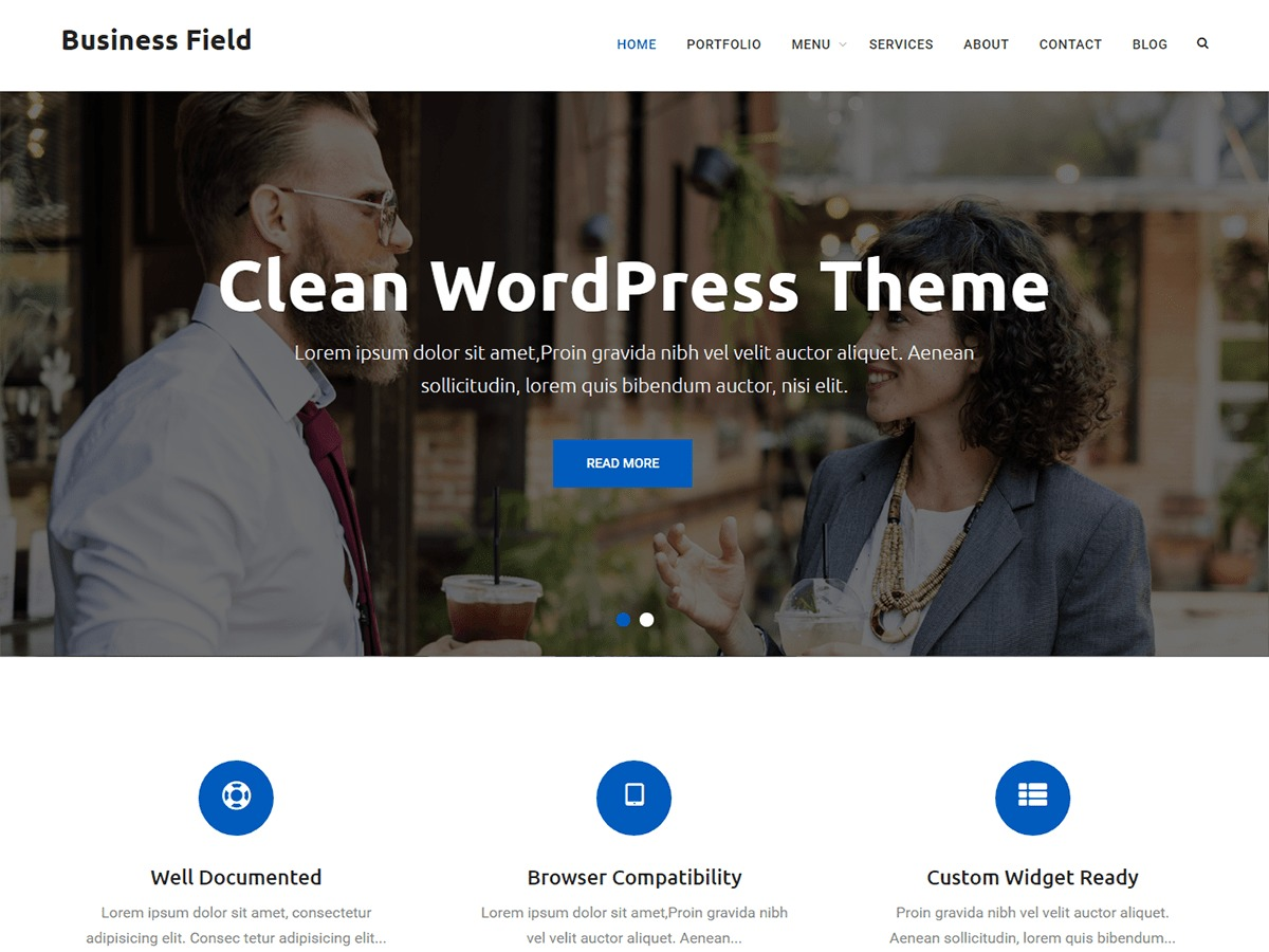 Business Field best free WordPress theme