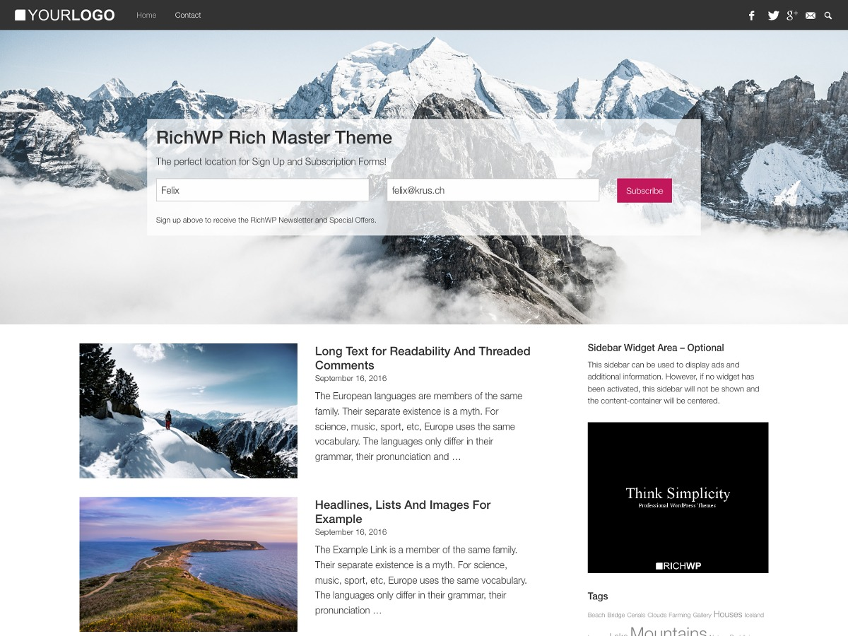 RichMasterXS free WordPress theme