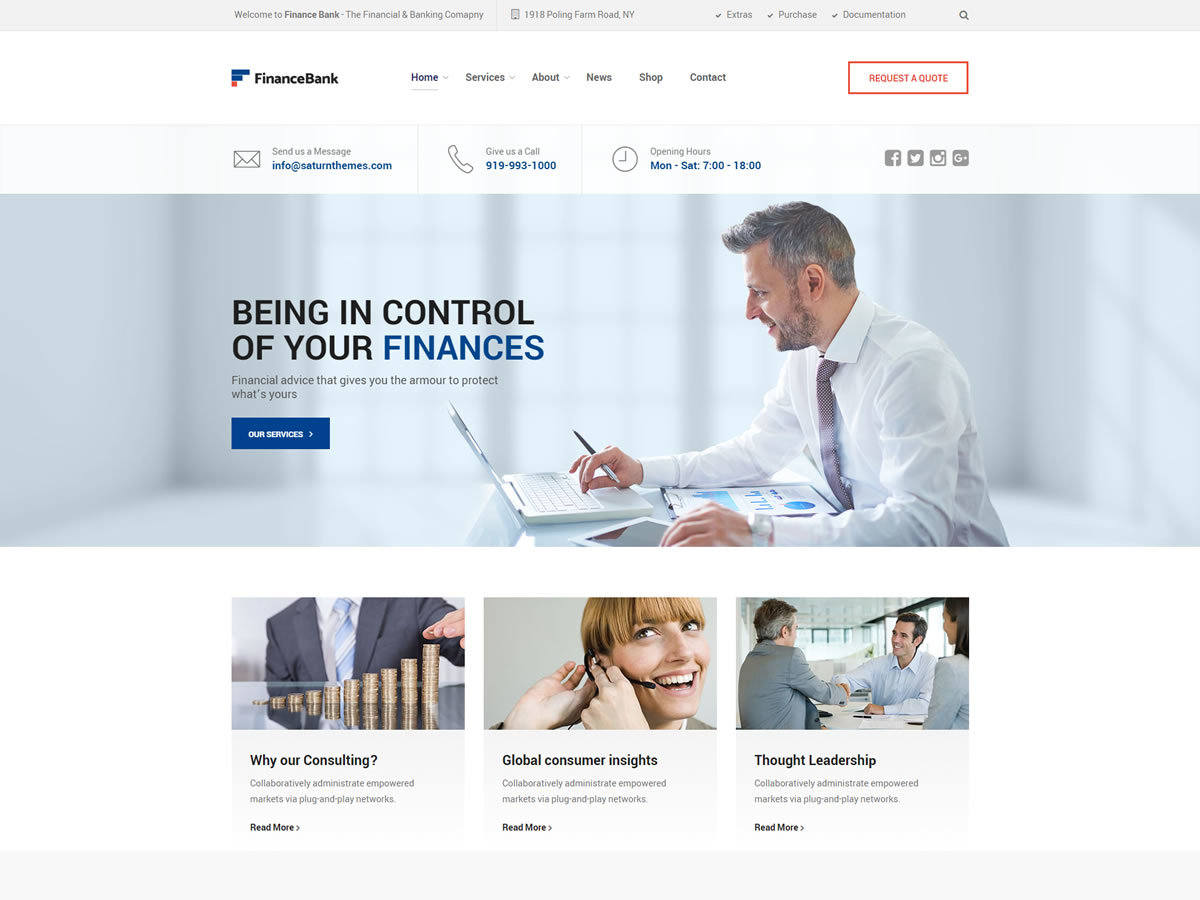SaturnThemes FinanceBank template WordPress