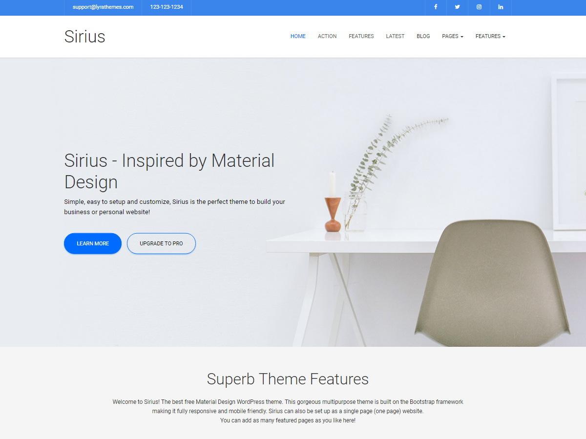 Sirius Lite wallpapers WordPress theme