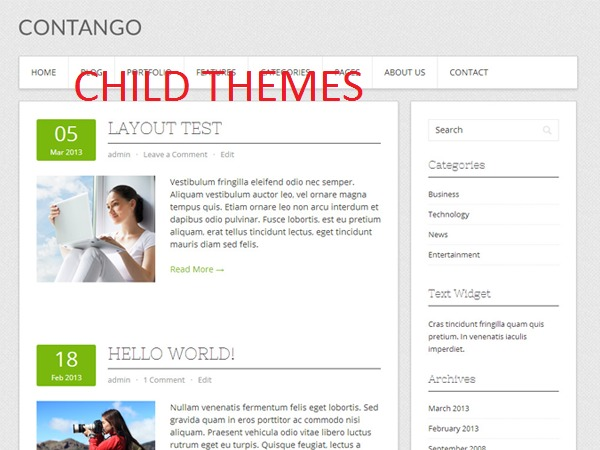 Contango Child WordPress website template