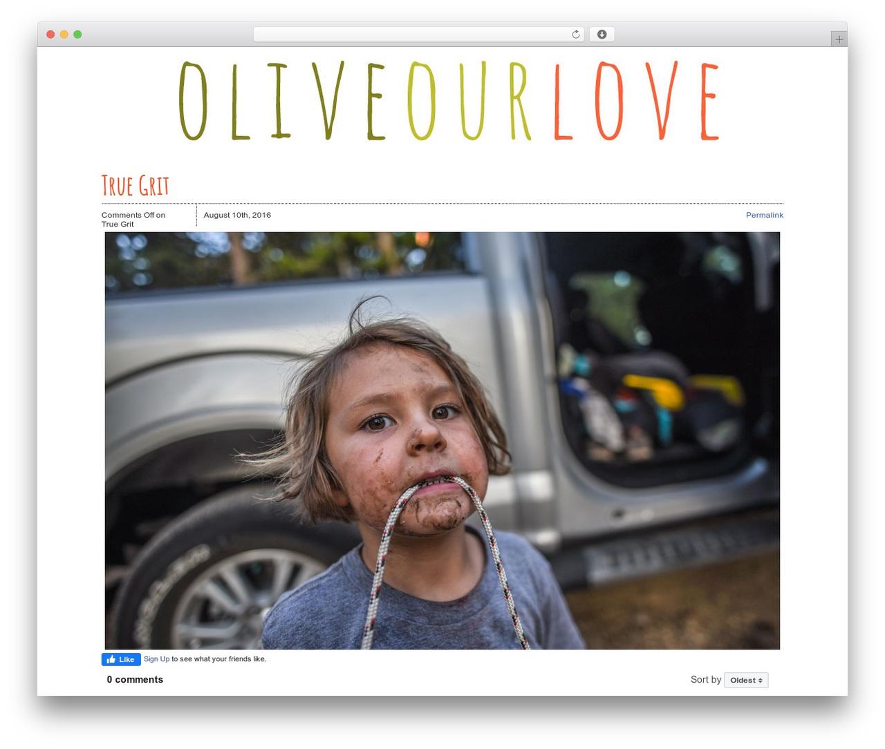 WordPress website template Zack 990 - oliveourlove.com