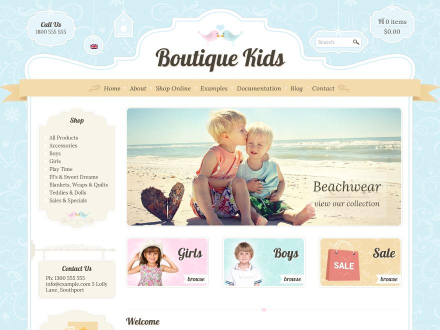 Boutique Kids WordPress theme