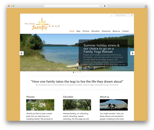 Chameleon WordPress website template - thegreatfamilyleap.com