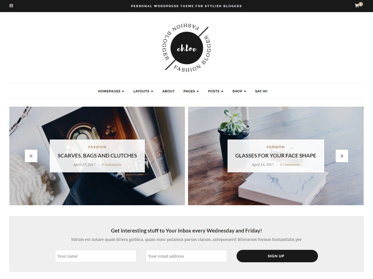 Chloe WordPress blog template