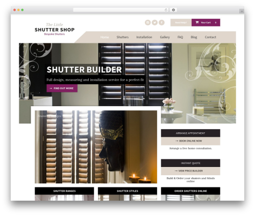 Shutter WordPress shopping theme - thelittleshuttershop.co.uk
