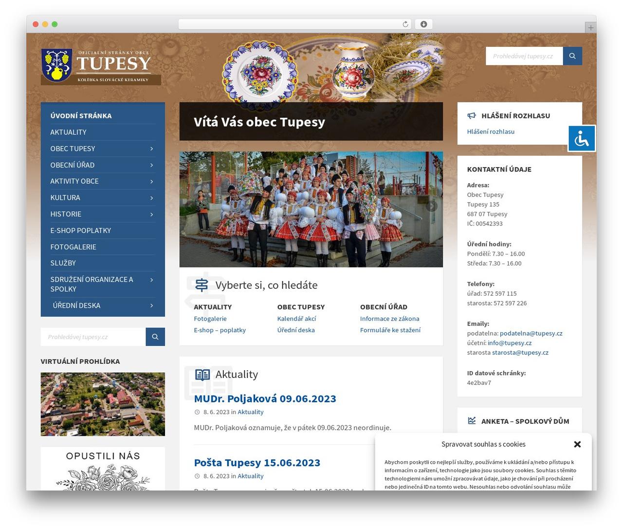 TownPress WordPress website template - tupesy.cz