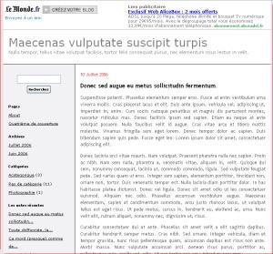 LeMonde - colonne latérale à gauche top WordPress theme