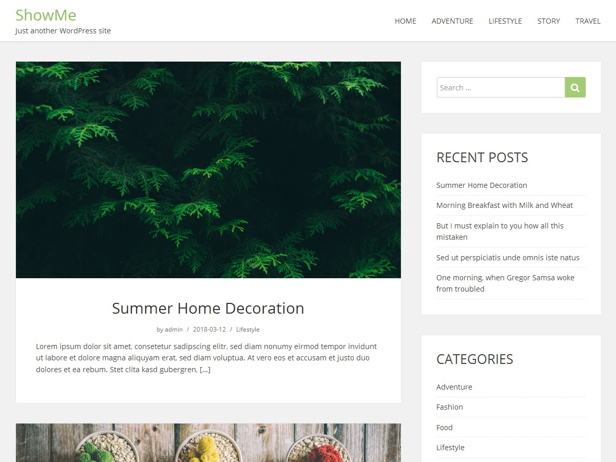 WordPress template showme