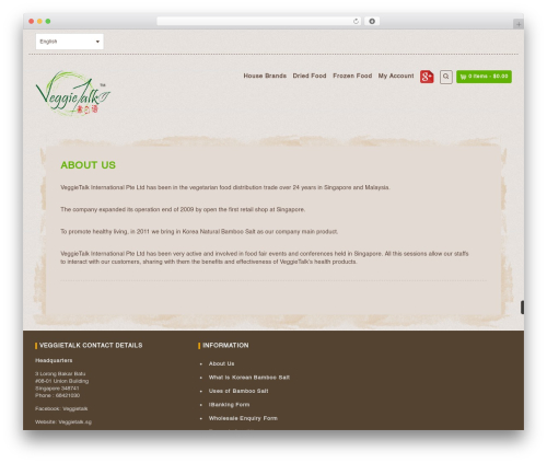 Organic Web Shop WP template - veggietalk.sg