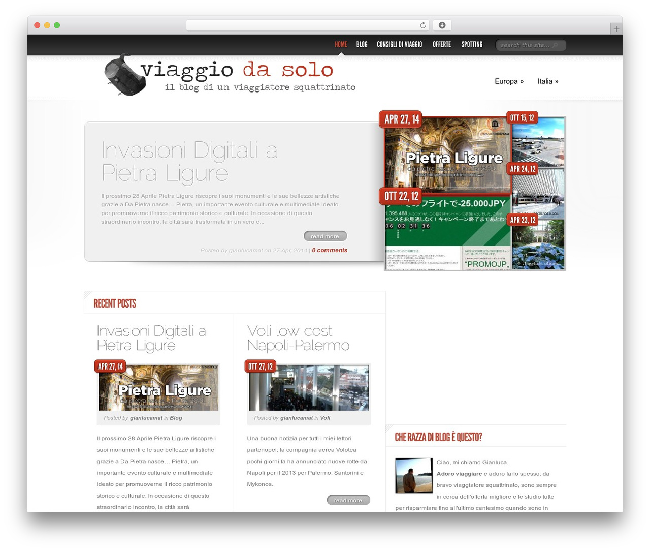 WordPress theme Delicate News - viaggiodasolo.com