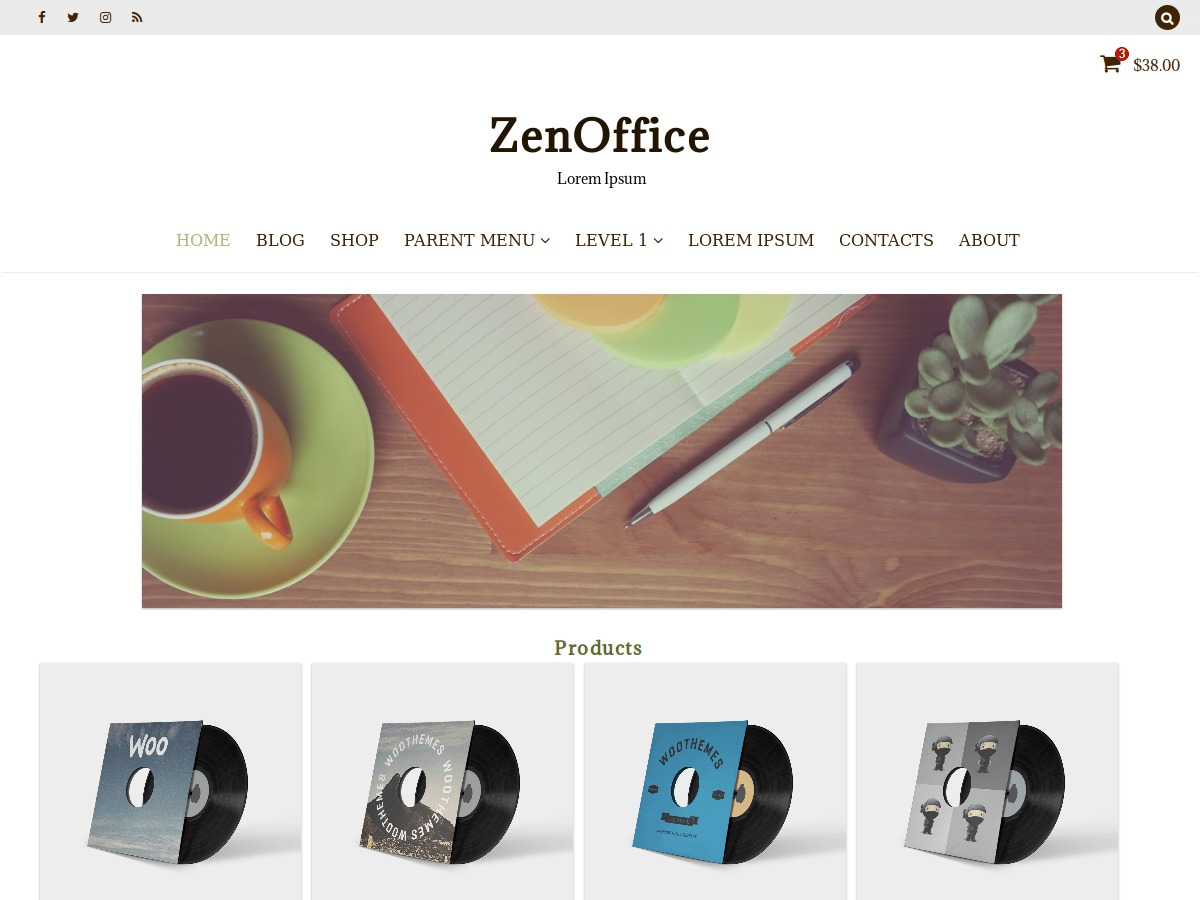 ZenOffice WordPress ecommerce template