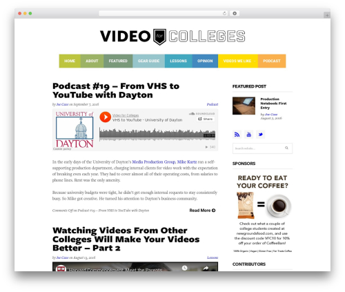 Colored Theme best WordPress template - videoforcolleges.com