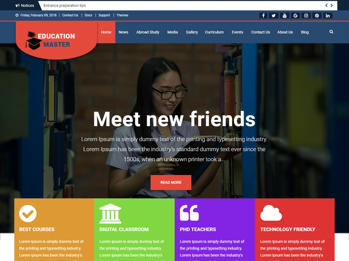 Education Master business WordPress theme