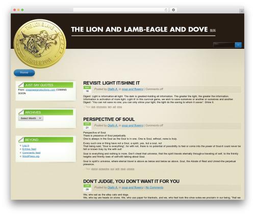 Arclite WordPress blog template - thelionandlamb-eagleanddoveblog.com