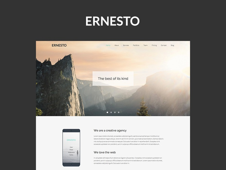 Ernesto personal blog WordPress theme