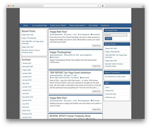 Frontier free WordPress theme - themeparkblog.com