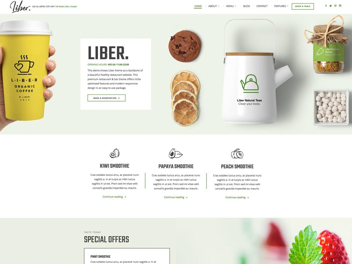 Liber best restaurant WordPress theme