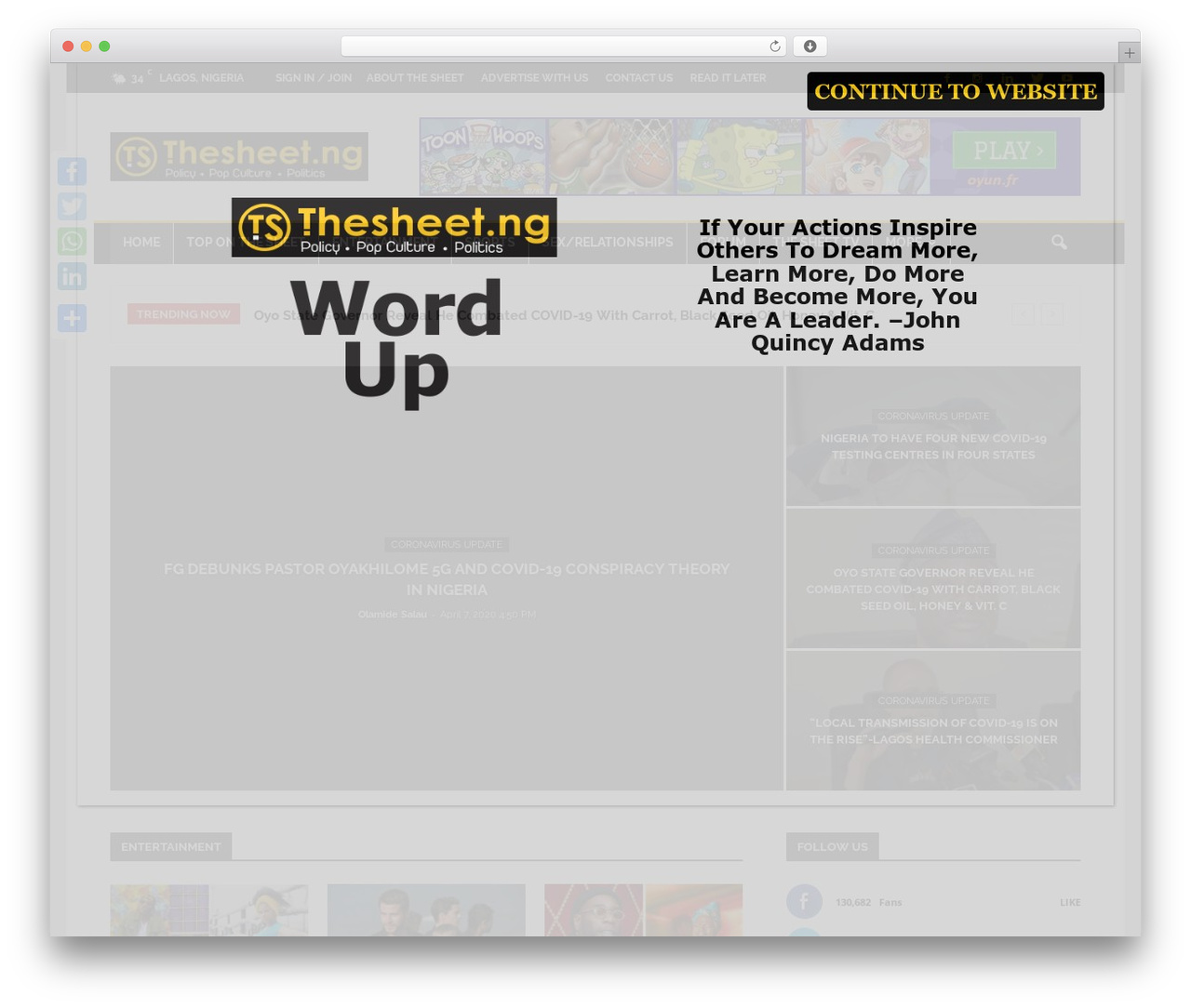 Newspaper newspaper WordPress theme - thesheet.ng