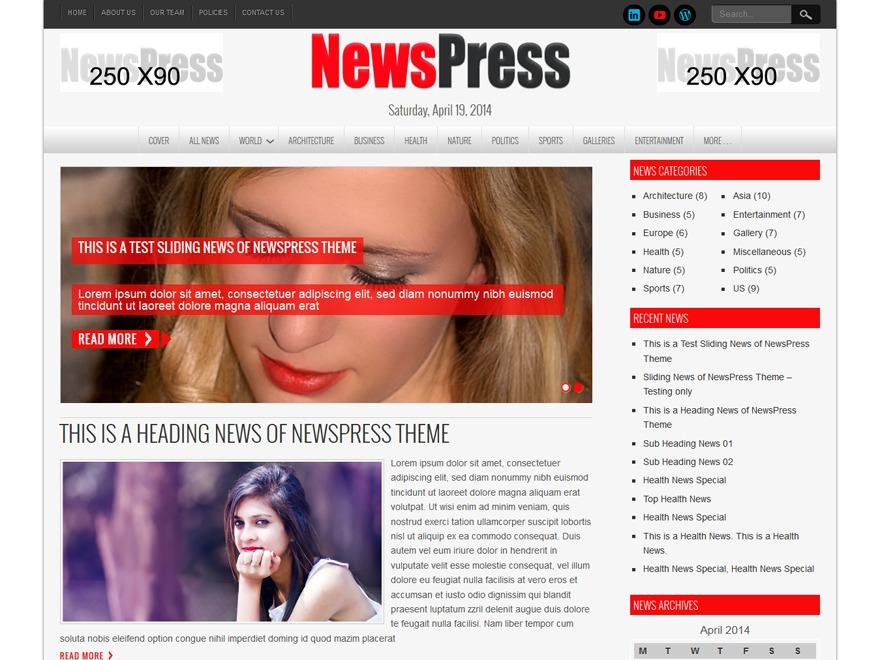 NewsPress Lite newspaper WordPress theme
