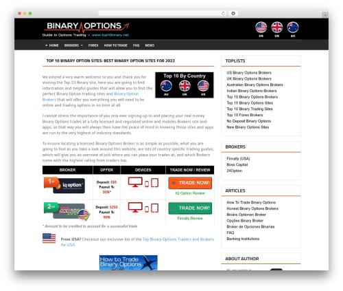 Quadrum Theme WordPress website template - top10binary.net