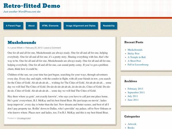 Retro-fitted – WordPress.com WordPress blog template
