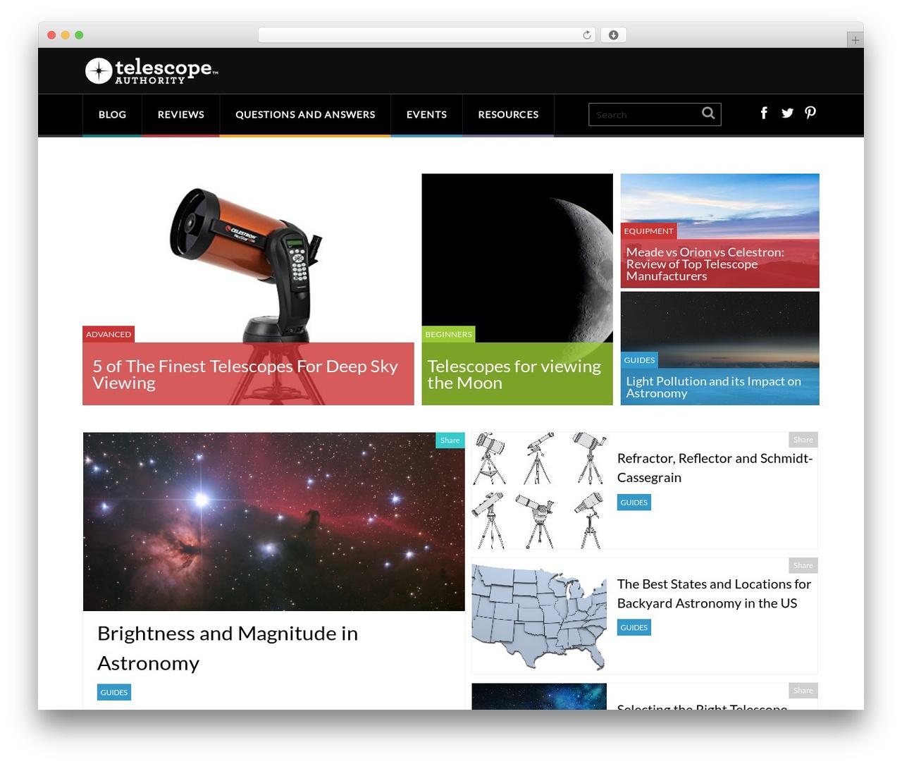 WordPress theme Performag - telescopeauthority.com