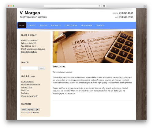 Customized business WordPress theme - vmmorgantaxservices.com