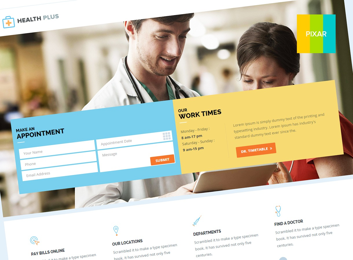 Health Plus (shared on wplocker.com) medical WordPress theme