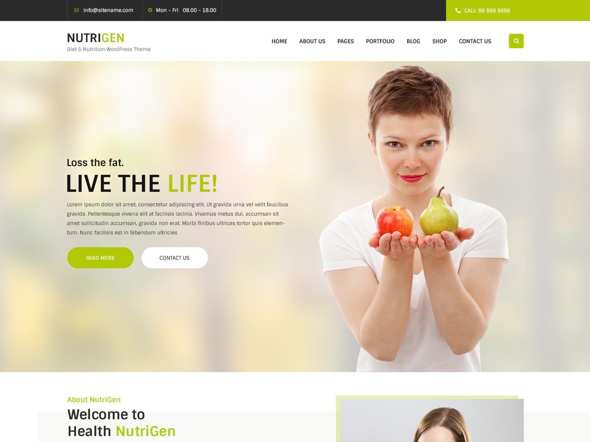 Nutrigen WordPress shop theme