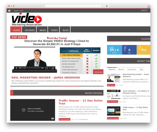 RapidNews best WordPress magazine theme - videomarketingassociation.com
