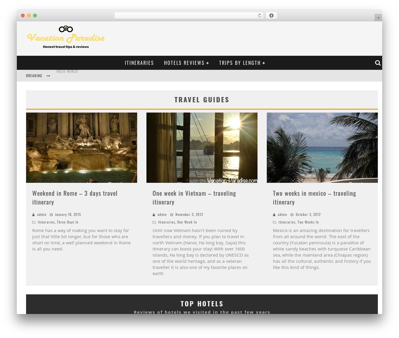 Valenti WordPress hotel theme - vacation-paradise.com