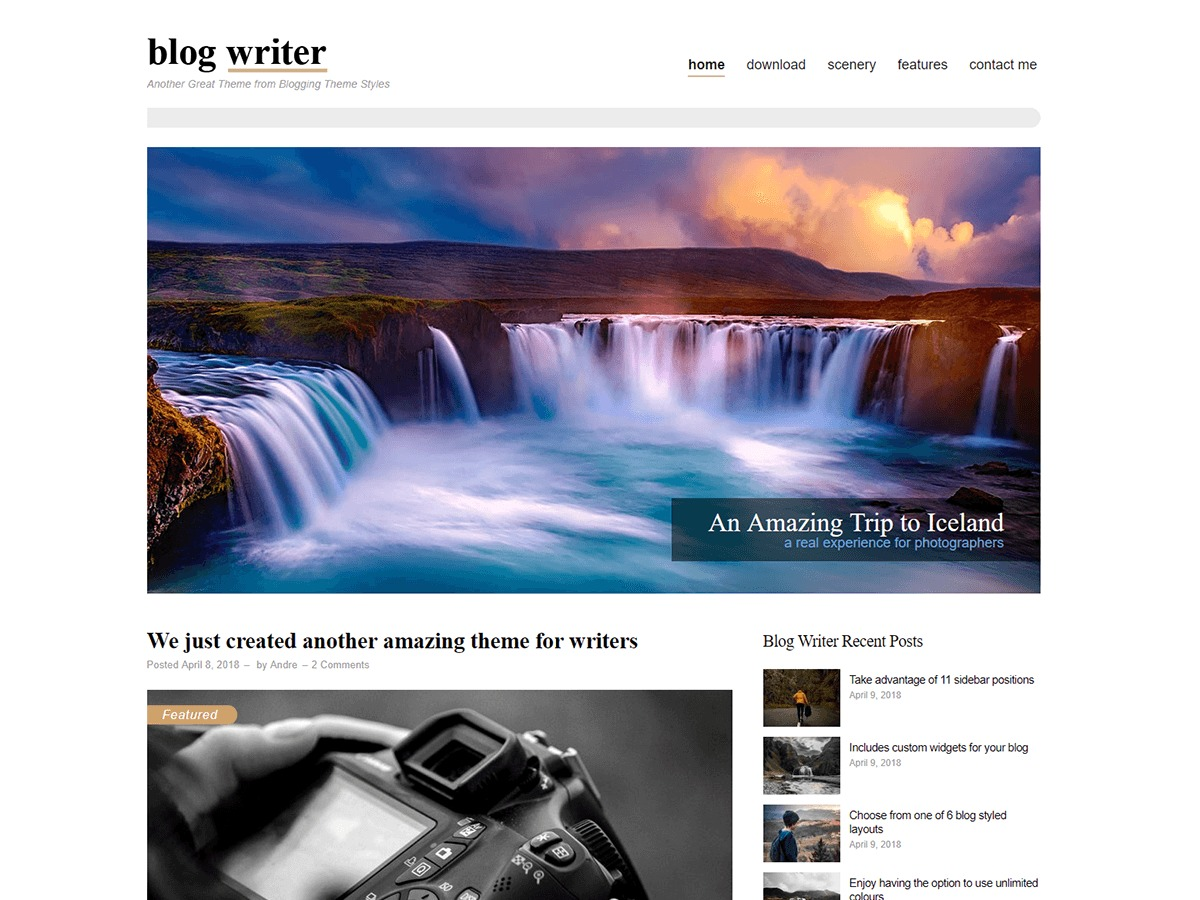 Blog Writer WordPress photo theme