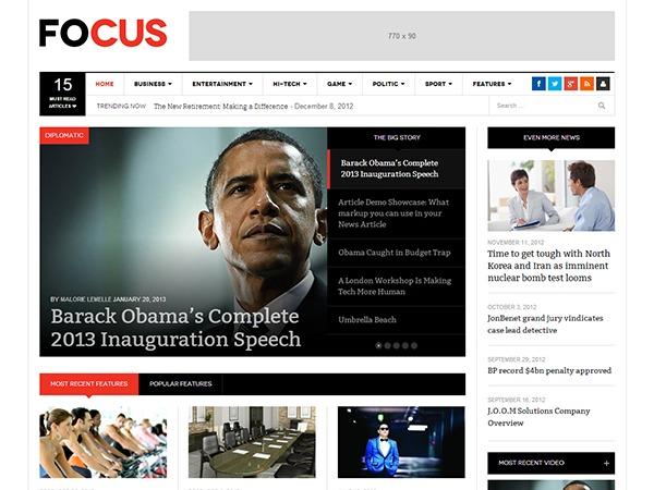 DW Focus WordPress news template