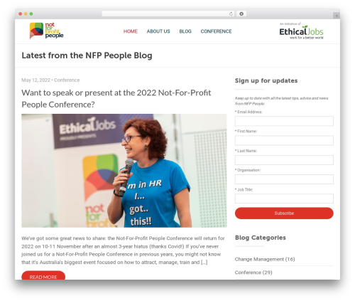 WordPress theme Conference Child Theme - nfppeople.com.au