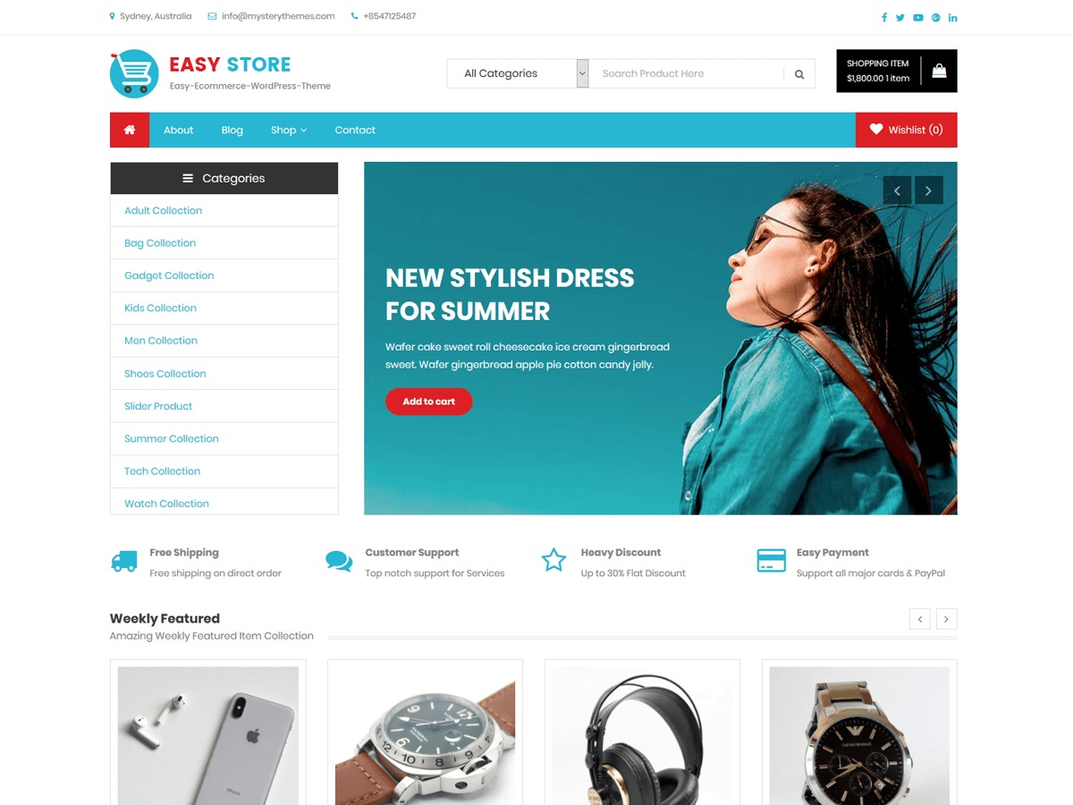 Easy Shop best WooCommerce theme by Mystery Themes - cheryls