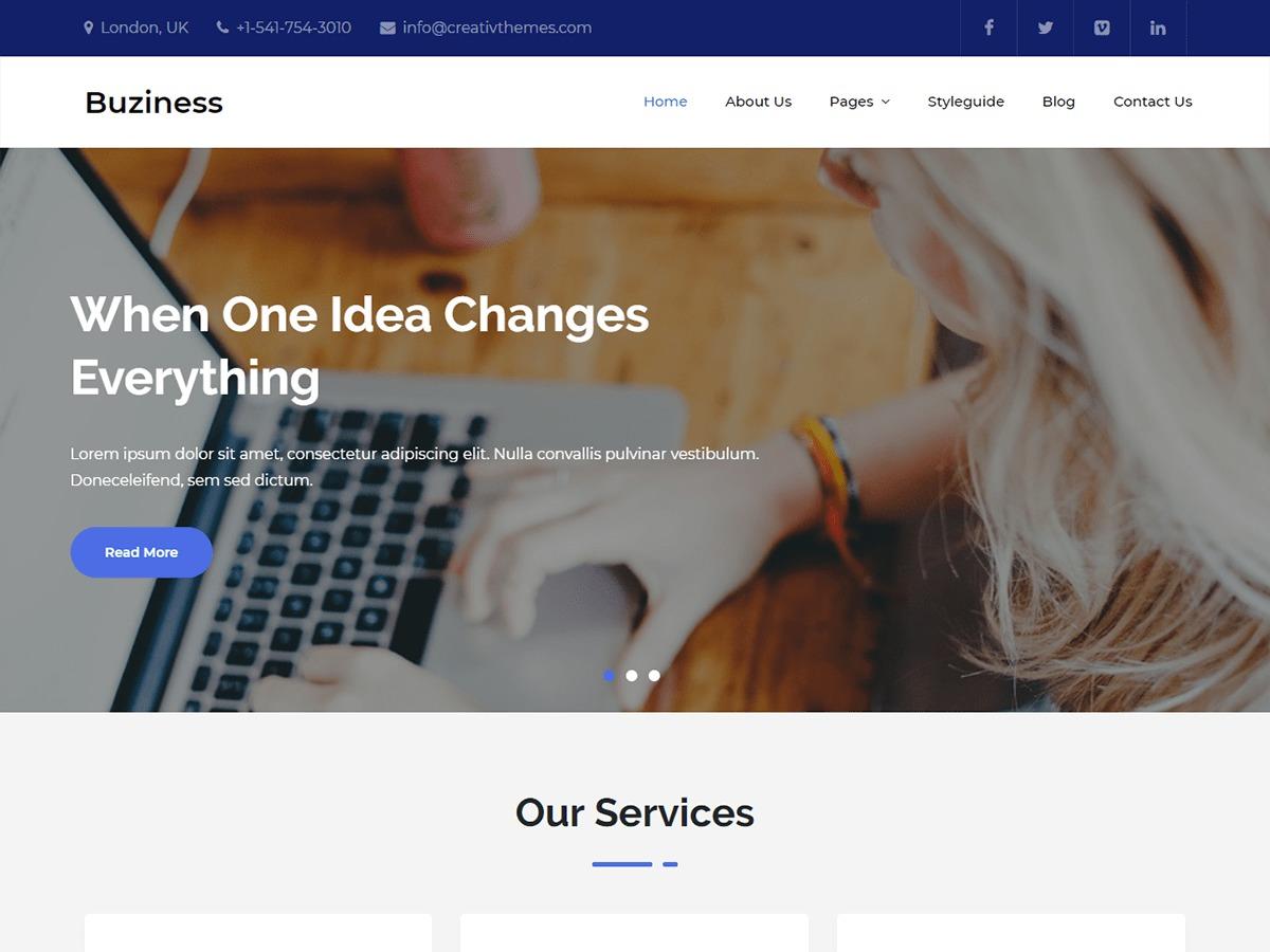 Buziness company WordPress theme