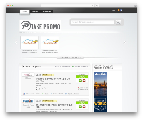 Clipper WordPress theme - takepromo.com