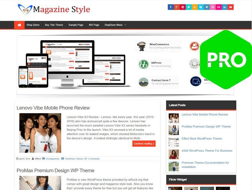 MagazineStyle WordPress blog template by InsertCart.com