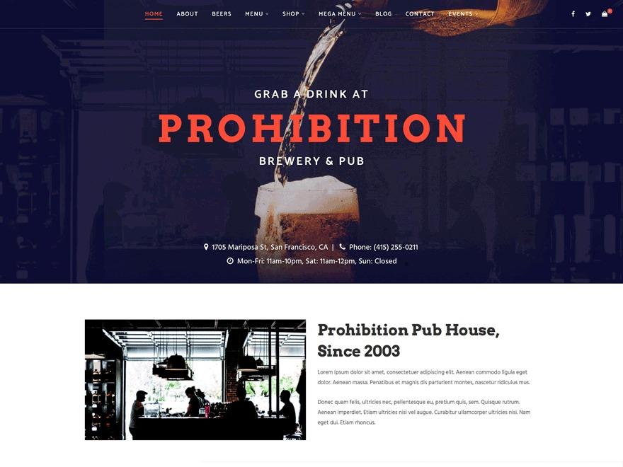 Prohibition Progression WordPress restaurant theme