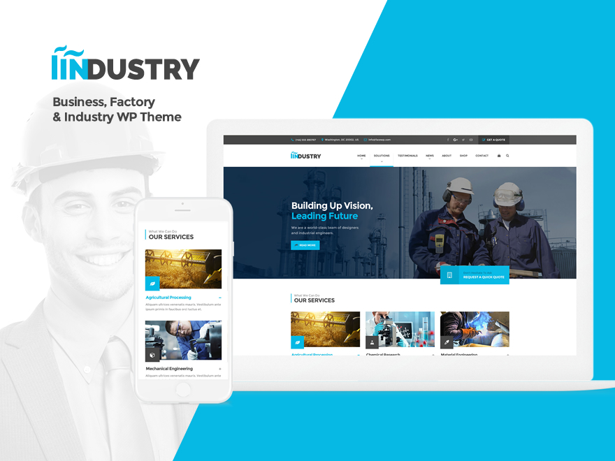 SaturnThemes Industry Child company WordPress theme