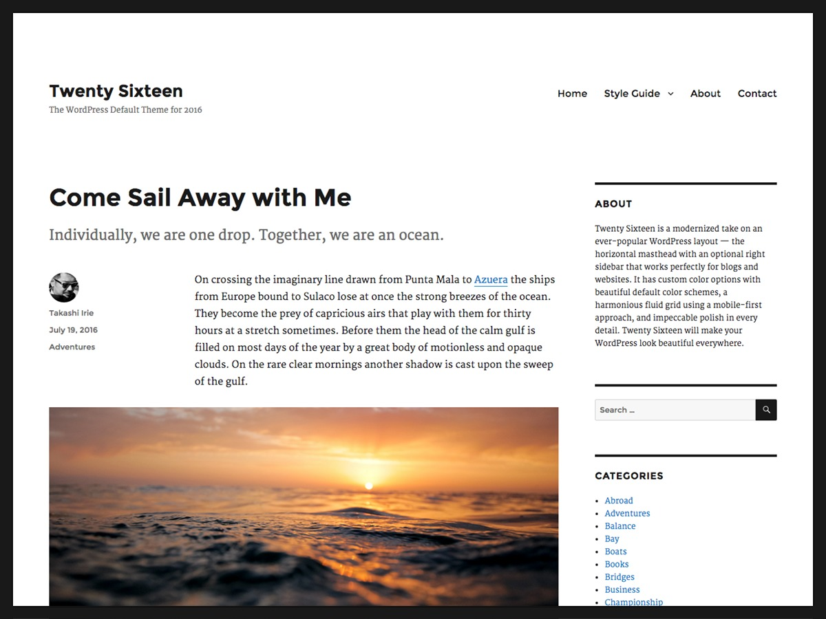 Twenty Sixteen WordPress blog theme