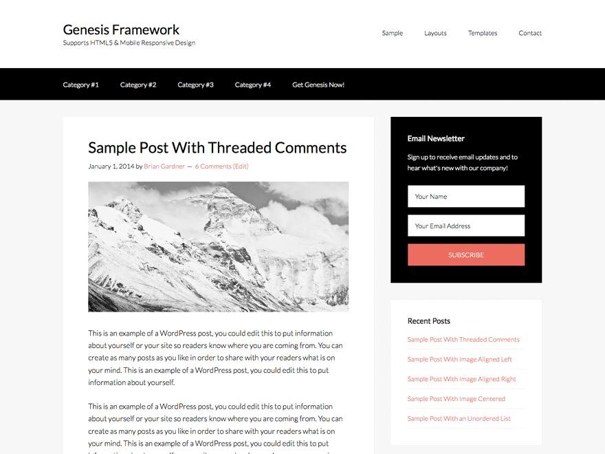 WordPress website template Genesis Sample Theme