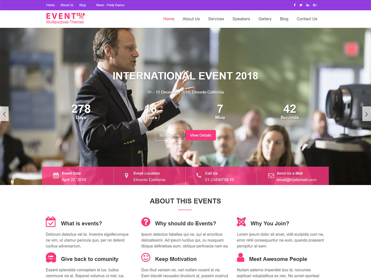 Event Star WordPress photo theme