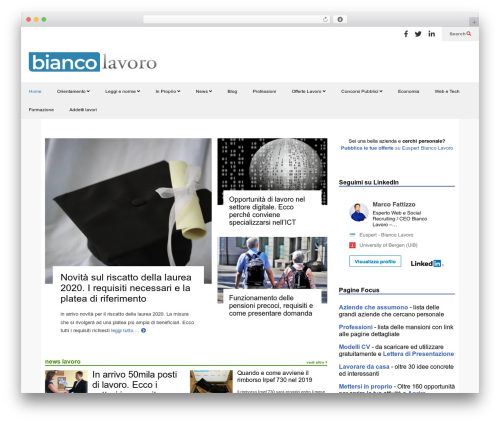 FlatNews WordPress theme design - news.biancolavoro.it
