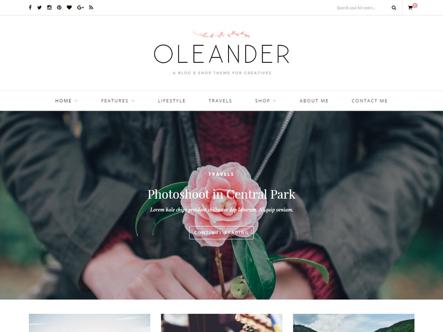 Oleander Child 01 best WordPress theme