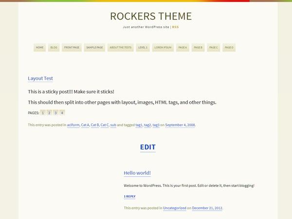 Rockers WordPress blog theme