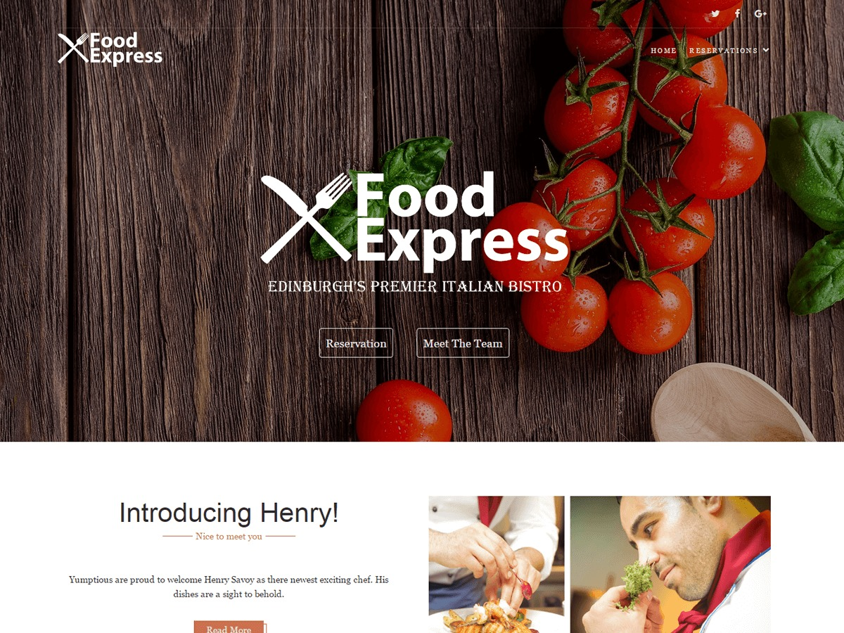 Food Express Child 02 WordPress template for business