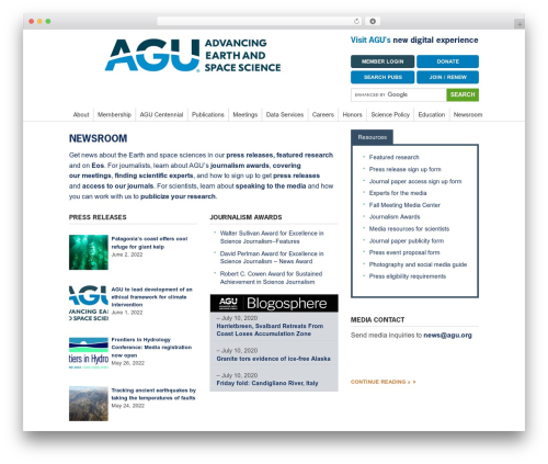 WordPress smartsimian-queries plugin - news.agu.org